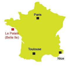 Location of Le Palais in Belle Ile en Mer - France