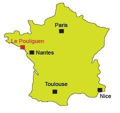 Carte du Pouliguen en Loire Atlantique (Bretagne Sud)
