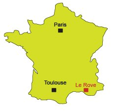 Location of Le Rove near Marseille in France