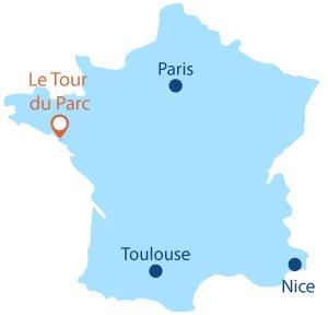Localisation du Tour du Parc en Bretagne