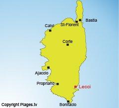 Carte de Lecci en Corse - golfe de Porto-Vecchio