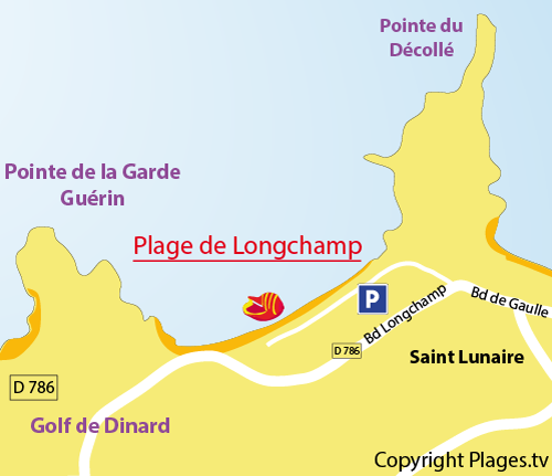 Carte de la plage de Longchamp à St Lunaire