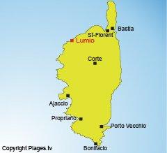 Location of Lumio in Corsica