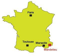Mappa di Mandelieu la Napoule in Francia