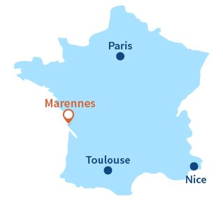 Map of Marennes in Charente Maritime