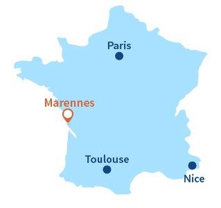 Localisation de Marennes en Charente Maritime