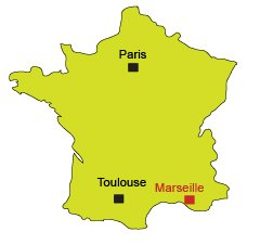 Location of Marseille in France