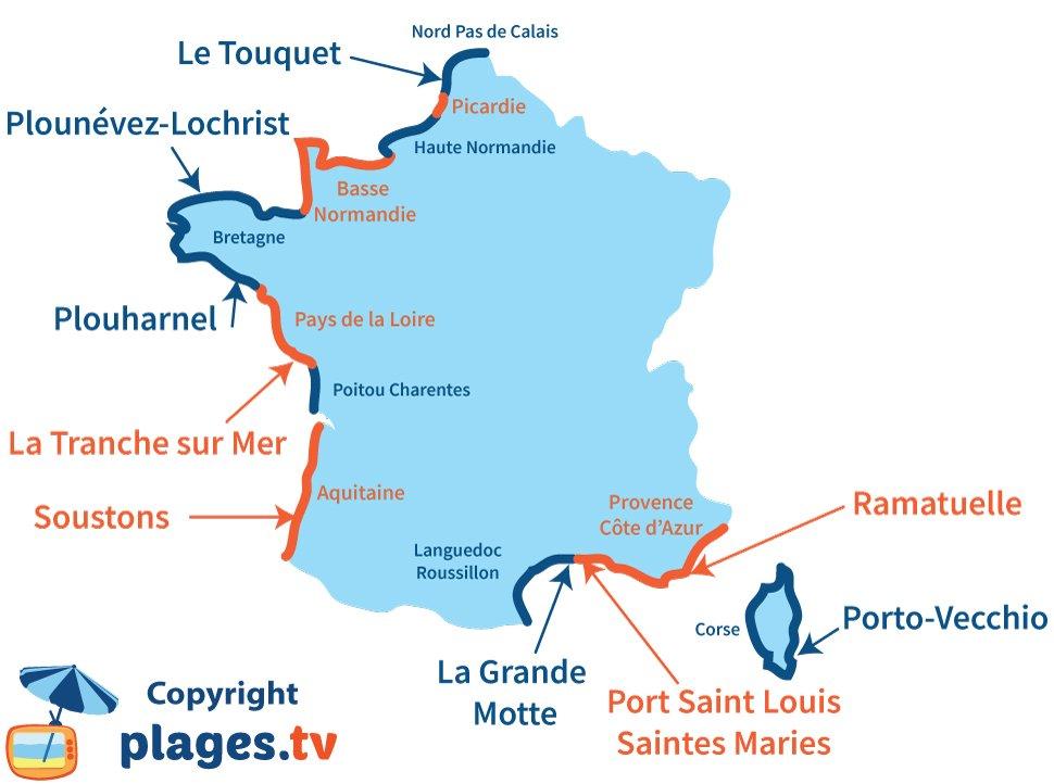 Carte des meilleures stations balnéaires de France pour les chiens