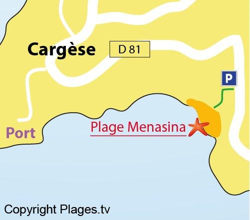 Map of Menasina Beach in Cargèse (Corsica)