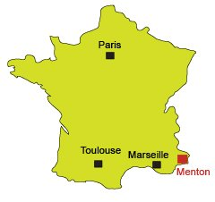 Location of Menton in France