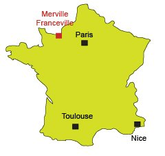 Map of Merville Franceville in Normandy