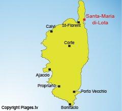Localisation de Miomo dans le Cap Corse