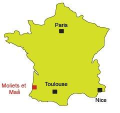 Mappa di  Moliets et Maâ in Francia