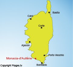 Location of Monacia d'Aullene in Corsica