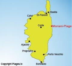 Location of Moriani-Plage in Corsica
