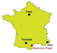 Location of Narbonne-Plage in France