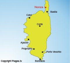 Location of Nonza in Corsica - Francia