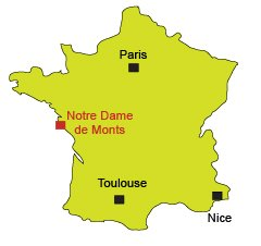 Location of Notre Dame de Monts in Vendée in France