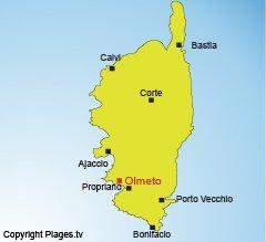 Carte d'Olmeto-Plage en Corse