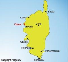Location of Osani in Corsica in the Girolata gulf