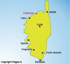 Map of Ostriconi beaches in Corsica - Palasca
