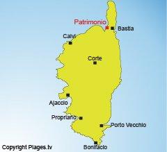 Location of Patrimonio in Corsica