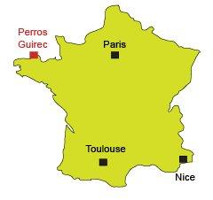 Carte de Perros Guirec en Bretagne