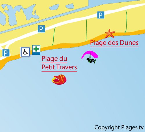 Map of Petit Travers Beach in Carnon