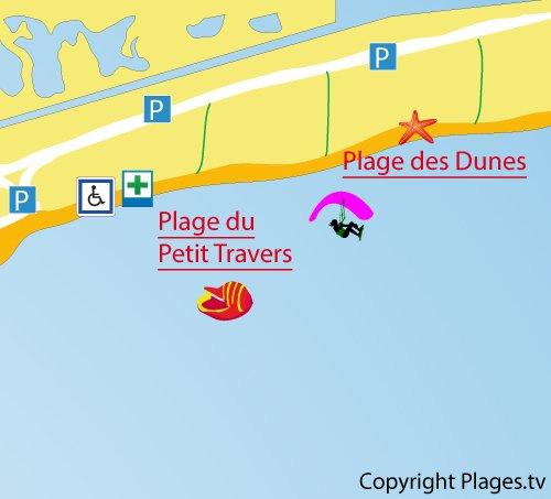Carte de la plage du Petit Travers à Carnon