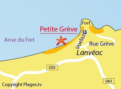 Carte de la petite Grève de Lanvéoc