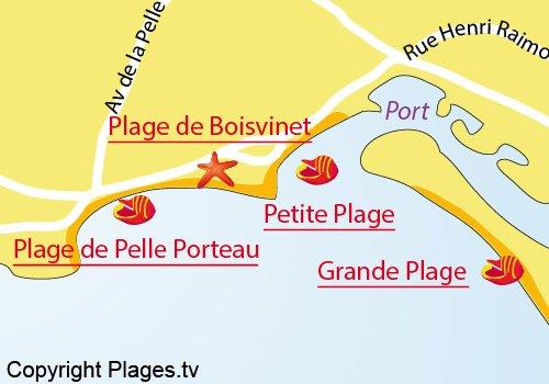 Carte de la petite plage de St Gilles Croix de Vie
