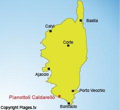 Location of Pianottoli Caldarello in Corsica