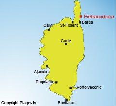 Localisation de Pietracorbara dans le Cap Corse