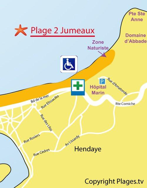 Carte de la plage des deux jumeaux Hendaye