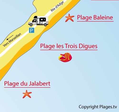 Map of 3 Digues Beach in Sète