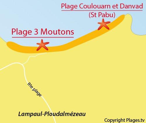 Carte de la plage des 3 Moutons à Lampaul Ploudalmézeau
