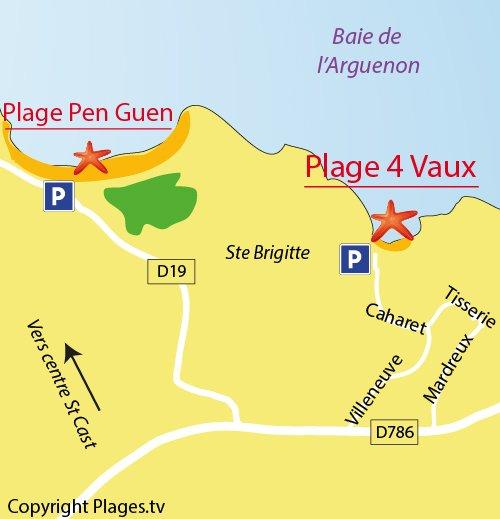 Carte de la plage des 4 Vaux à St Cast le Guildo