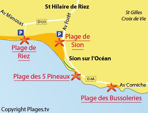 Map of 5 Pineaux Beach in St Hilaire de Riez
