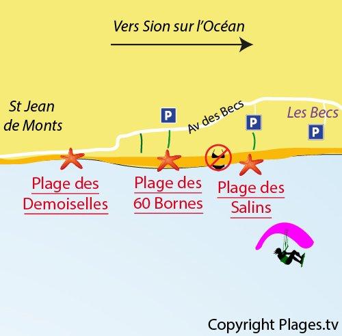 Carte de la plage des 60 Bornes à St Hilaire de Riez