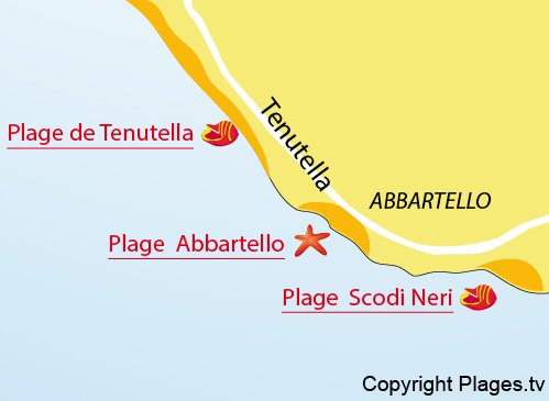 Plan de la plage Abbartello à Olmeto