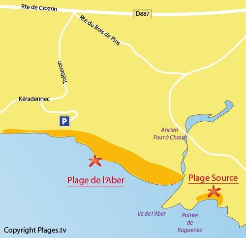 Plan de la plage de l'Aber à Crozon