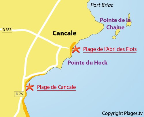 Map of Abri des Flots Beach in Cancale