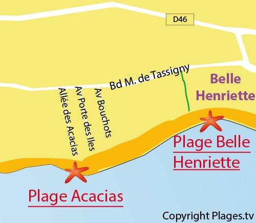 Carte de la plage des Acacias à La Tranche sur Mer