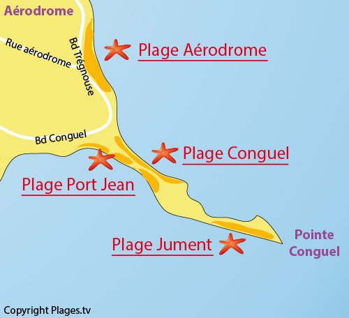 Map of Aerodrome Beach in Quiberon