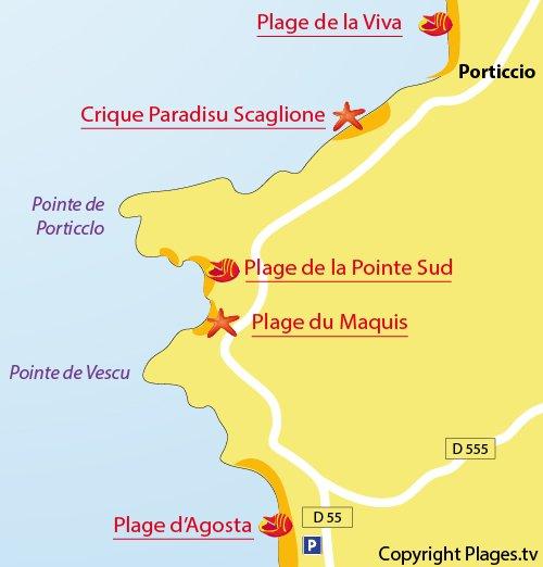 Map of Agosta beach in Porticcio in Corsica