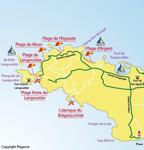 Mappa della Spiaggia dell'Aiguade a Porquerolles