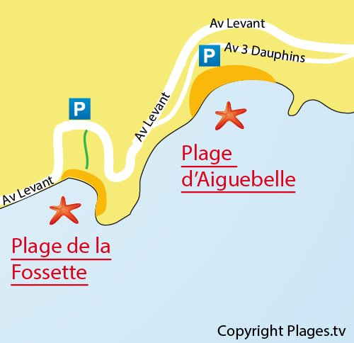 Plan de la plage d'Aiguebelle au Lavandou