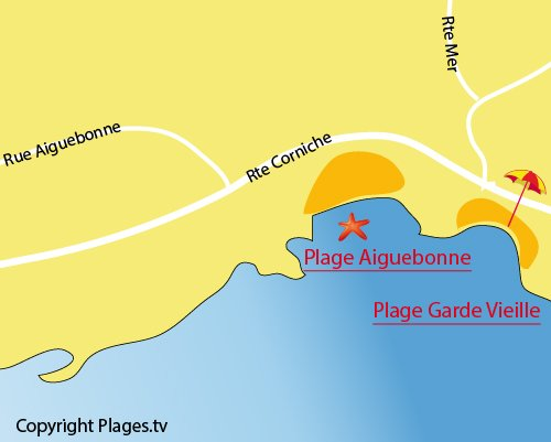 Map of Aiguebonne beach in Saint Raphael
