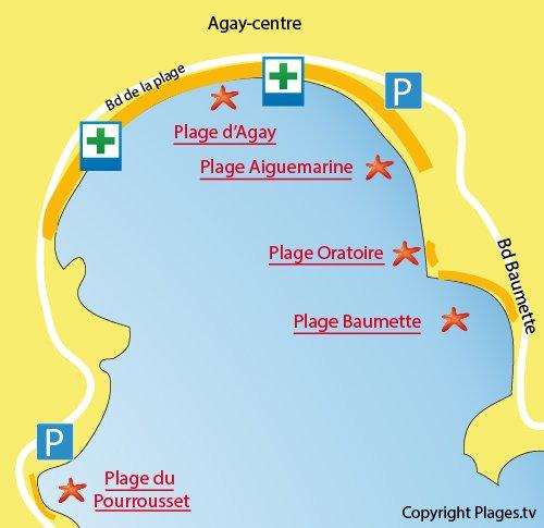 Plan de la plage Aiguemarine à Agay dans le Var