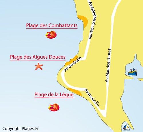 Map of Aigues Douces Beach in Port de Bouc